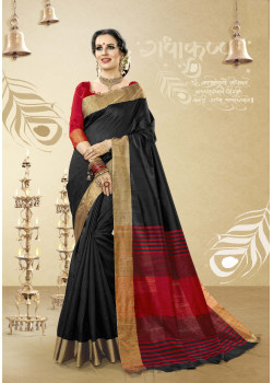 Melodic Black Cotton Handloom Silk Saree with Red Blouse
