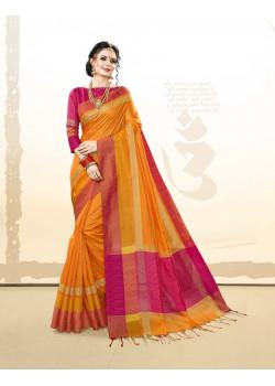 Plushy Orange Khadi Cotton Silk  Saree with pink Blouse