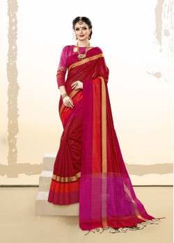 Adorable red  Khadi Cotton Silk  Saree with pink Blouse