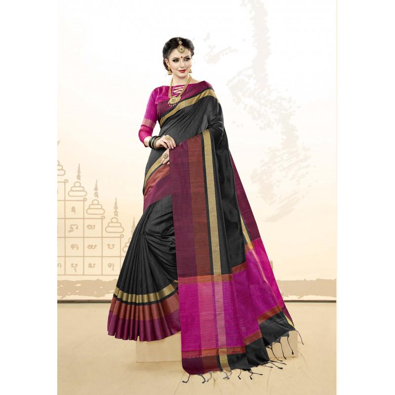 Classic Black Khadi Cotton Silk  Saree with pink Blouse