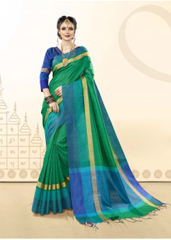 Enigmatic Green Khadi Cotton Silk  Saree with blue  Blouse