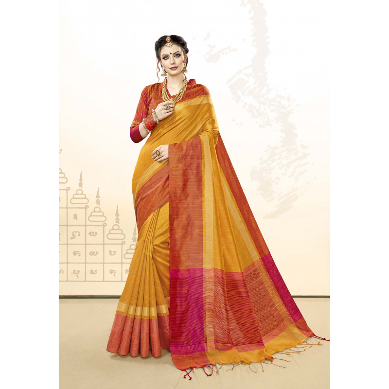 Exotic Orange Khadi Cotton Silk  Saree with Orange Blouse