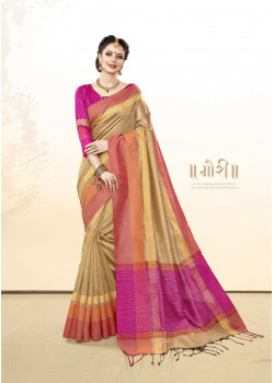 Incredible Beige Khadi Cotton Silk  Saree with pink Blouse