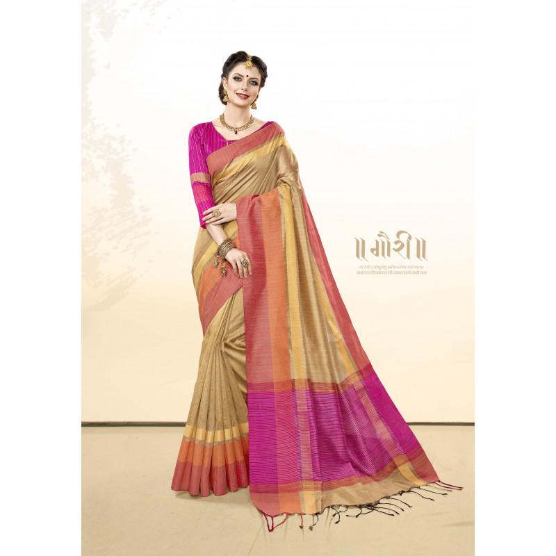 Incredible Beige Khadi Cotton Silk  Saree with pink Blouse