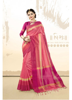 Melodic pink Khadi Cotton Silk  Saree with pink Blouse