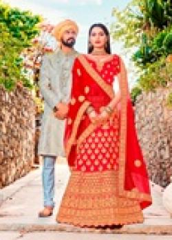 Adorable Red color Satin Silk Wedding Lehenga