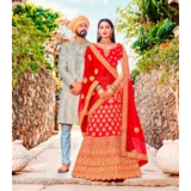 Adorable Red color Satin Silk Wedding Lehenga