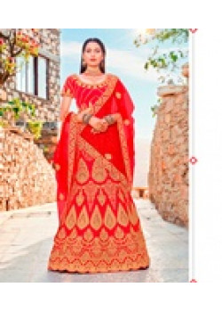 Classic Red color Satin Silk Wedding Lehenga