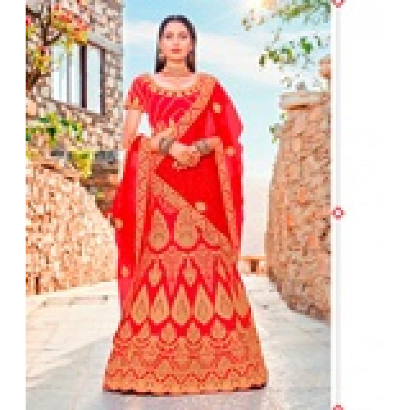 Classic Red color Satin Silk Wedding Lehenga