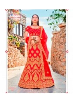 Flamboyant Red color Satin Silk Wedding Lehenga