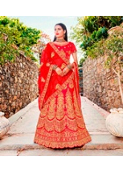 Luscious Red color Satin Silk Wedding Lehenga