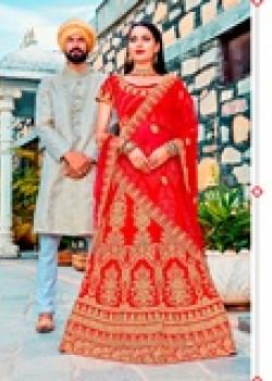 Melodic Red color Satin Silk Wedding Lehenga