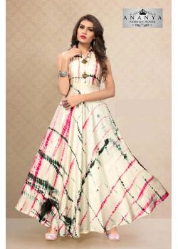 Classic Multicolor Satin Silk Readymade Kurti