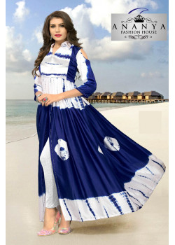 Incredible Blue White Satin Silk Readymade Kurti