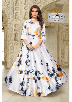 Magnificient Off White Satin Silk Readymade Kurti