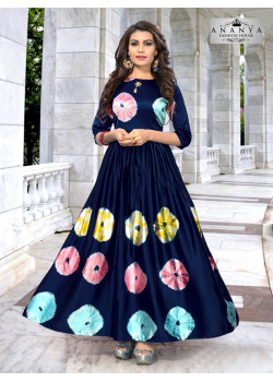 Adorable Navy Blue Satin Silk Readymade Kurti