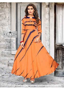 Charming Orange Satin Silk Readymade Kurti