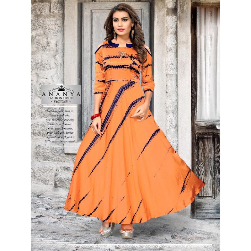 Charming Orange Satin Silk Readymade Kurti