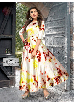 Flamboyant Cream Satin Silk Readymade Kurti