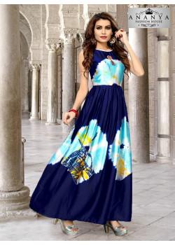 Luscious Neavy Blue Satin Silk Readymade Kurti
