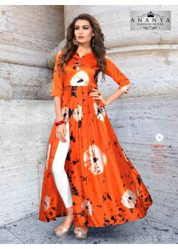 Trendy Orange Satin Silk Readymade Kurti