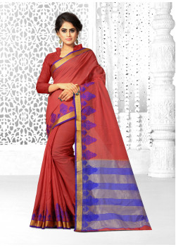 Adorable Brown Family Cotton Silk Saree with Brown Family Blouse