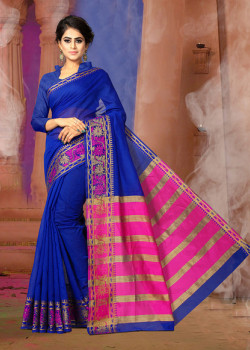 Flamboyant Royal Blue Cotton Silk Saree with Royal Blue Blouse