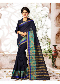 Luscious Neavy Blue Cotton Silk Saree with Neavy Blue Blouse