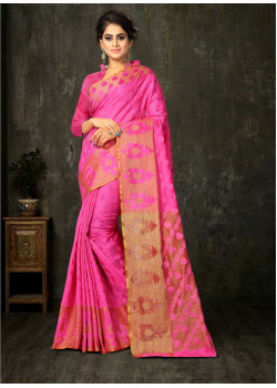 Enigmatic Pink Cotton Silk Saree with Pink Blouse