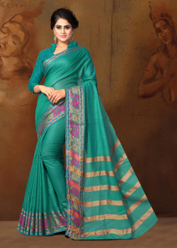 Incredible Dark Aqua Green Cotton Silk Saree with Dark Aqua Green Blouse