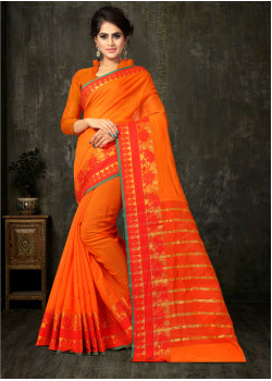Melodic Orange Cotton Silk Saree with Orange Blouse