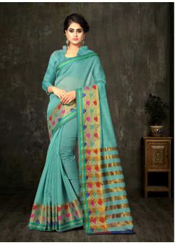 Plushy Aqua Green Cotton Silk Saree with Aqua Green Blouse