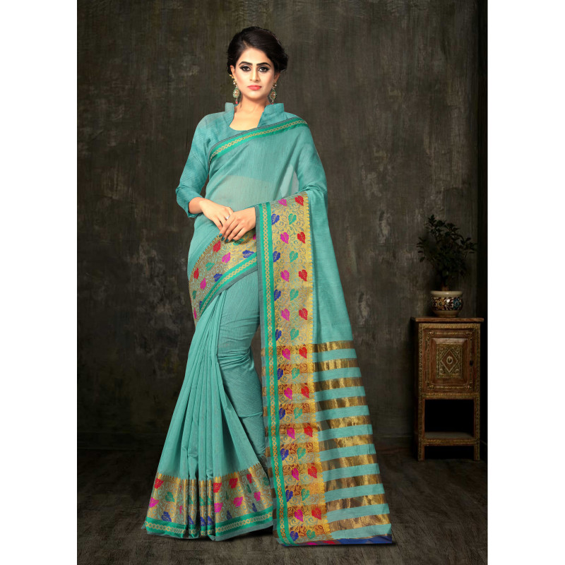 Plushy Aqua Green Cotton Silk Saree with Aqua Green Blouse