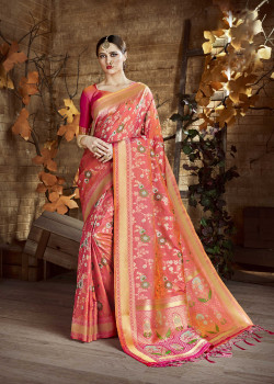 Charming Pink Cora Silk Saree with Pink Blouse