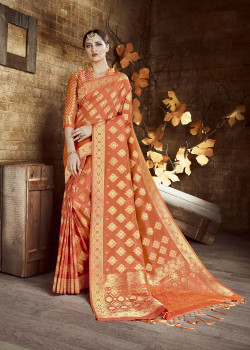 Divine Orange Cora Silk Saree with Orange Blouse