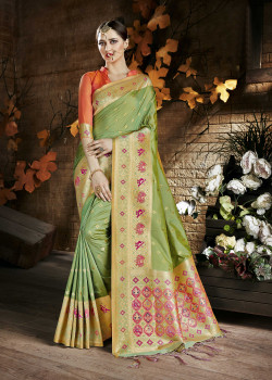 Exotic Green Cora Silk Saree with Orange Blouse
