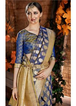 Gorgeous Blue Cora Silk Saree with Blue Blouse