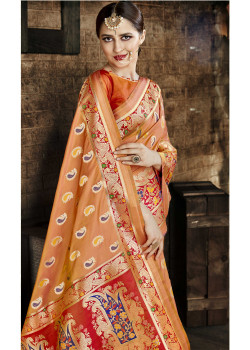 Incredible Orange Cora Silk Saree with Orange Blouse