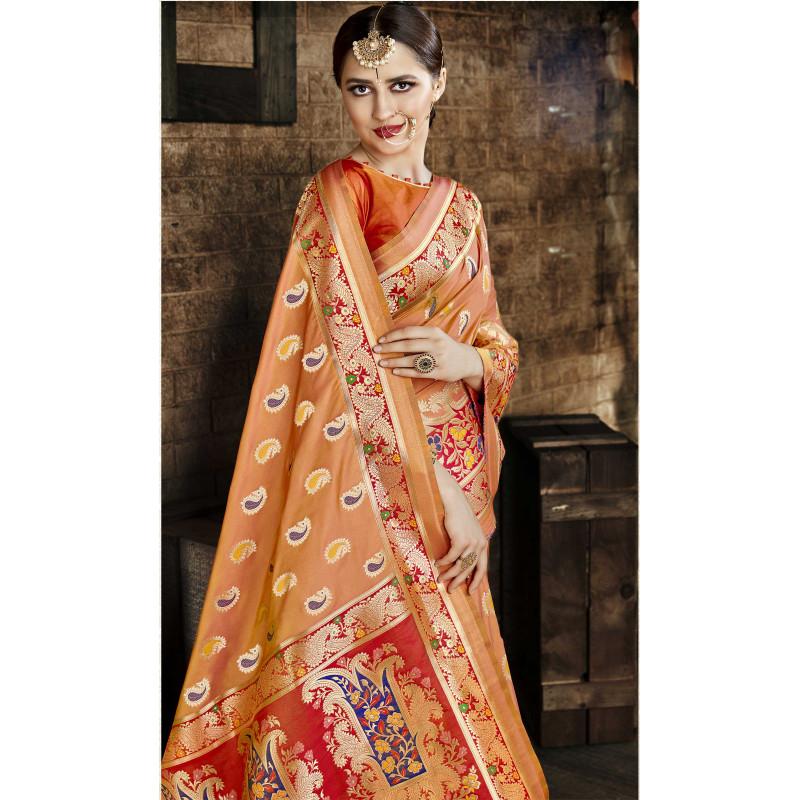 Incredible Orange Cora Silk Saree with Orange Blouse