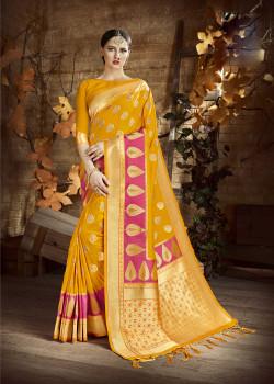 Melodic Yellow Cora Silk Saree with Yellow Blouse