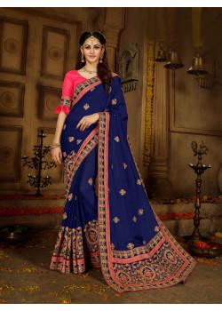 Enigmatic Navi Blue Rangoli Saree with Pink Blouse