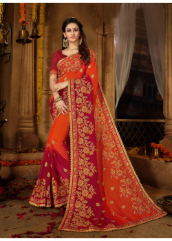 Classic Orange + Red Georgette + Rangoli Saree with Red  Blouse
