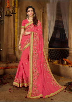 Adorable Light Pink Vichitra Silk Saree with Light Pink Blouse