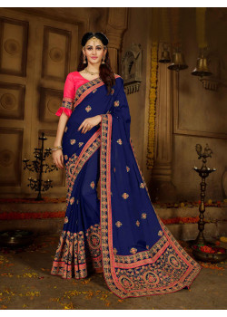 Enigmatic Navi Blue Rangoli Saree with Pink Blouse