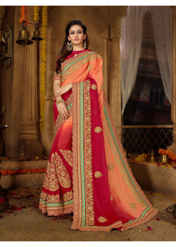 Flamboyant Peach + Red Moss Chiffon Saree with Red  Blouse