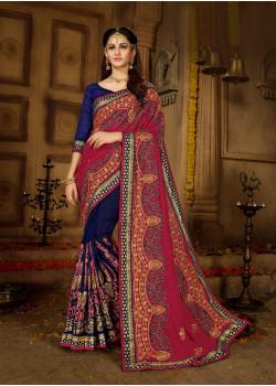 Melodic Red + Navi Blue Vichitra Silk Saree with Navi Blue Blouse