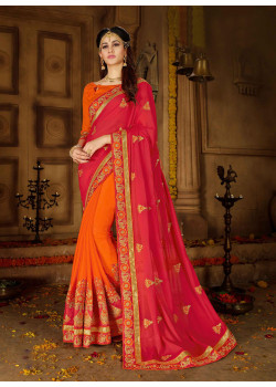 Plushy Red + Orange Rangoli Saree with Orange Blouse