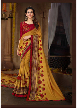 Divine Yellow Rangoli Georgette Saree with Maroon Blouse