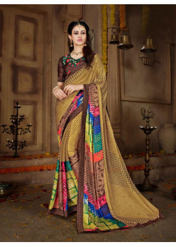 Luscious Multi Color Rangoli Georgette Saree with Brown Blouse