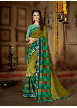 Melodic Mehendi Green Vichitra Silk Saree with Multicolor Blouse